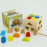 Деревянная игра Стучалка -Сортёр куб 0548 дерево