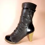 Полусапожки демисезонные женские на удобном каблуке, с лаковыми вставками. Размеры 36-41.