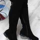 Зимние натуральные замшевые сапоги-ботфорты темно-синие и черные