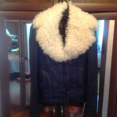 Кожанная утепленная куртка S