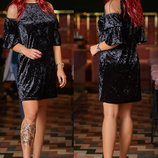 Коктейльное бархатное платье р. 42-52