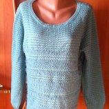 Классный бирюзовый джемпер свитер c ворсом-травкой