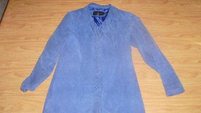 Синее замшевое пальто с бахромой Centigrade