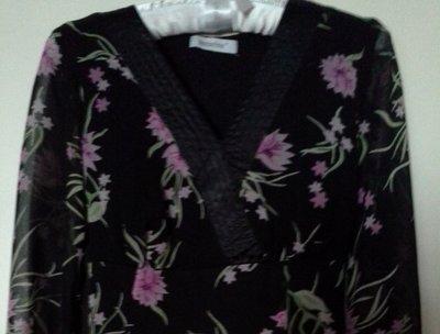 Платье лёгкое шифоновое черное с цветами Blanche Porte