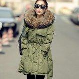куртка женская Хит пуховик Енот Мех женский зимняя термо теплая пальто парка дубленка