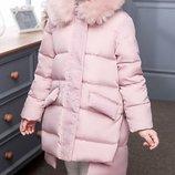 Куртка детская теплая зимняя Пух натуральный на девочку пальто комбинезон девочки