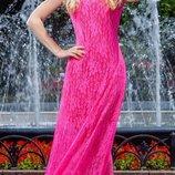 платье в пол розовое с-м