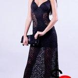 вечернее платье Poliit с-м черное гипюр