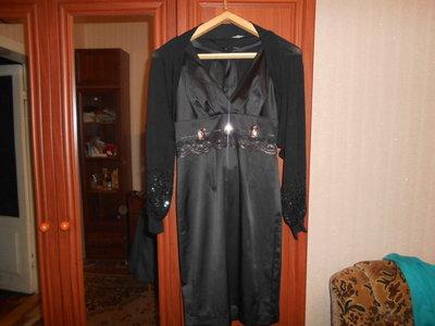 Маленькое черное коктельное платье с болеро 46-48р.