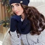 Комплект «Франческа» шапка, шарф-снуд и перчатки