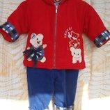1-1,5 лет, Яркий тепленький флисовый костюмчик на подкладке