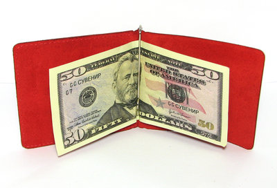 Кожаный кошелек Зажим для денег Красный