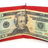 ожаный кошелек Зажим для денег натуральная кожа Красный