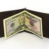Кожаный кошелек Зажим для денег натуральная кожа Коричневый