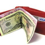 Кожаный кошелек Зажим для денег с отделом для мелочи натуральная кожа Красный
