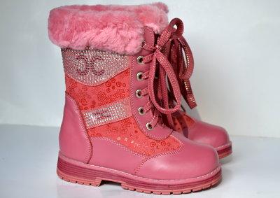 Зимние кожаные сапожки для девочек Meekonе.