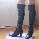 Высокие зимние сапоги кожаные 39 р., ботфорты на высоком каблуке 39 р.