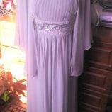 Обалденное нарядное шифоновое платье с накидкой на свадьбу,торжество 50-52р
