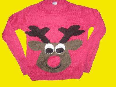 Новогодний свитер с оленем,рост 98-104 см
