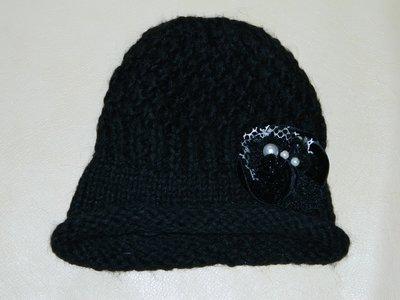 Шапка женская черная вязаная шерсть на Ог 54-56-58 см.