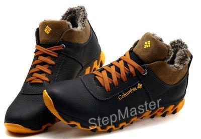 Кроссовки кожаные зимние Columbia Black-Brown