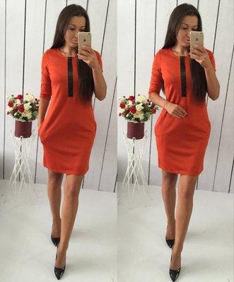 Платье с встакой эко кожи
