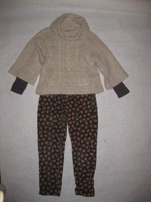 6-7 лет, красивые вельветовые штаны Zara с мишками