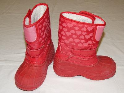 Красно-Розовые сноубутсы на девочку. Размер 9 27 .