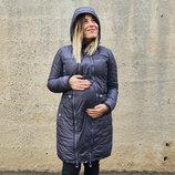 Зимняя куртка для беременных и слингоношения Грей