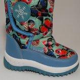 Сноубутсы, дутики, дутые сапоги голубые с бабочками на девочку, Тм EeBb , D9002, размеры 22, 23, 2