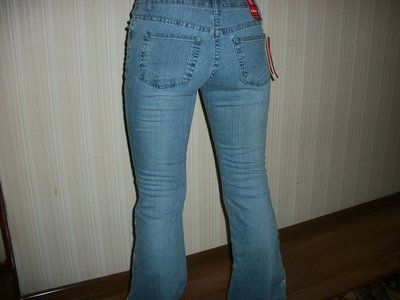 джинсы женские с декором сетка