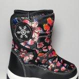 Сноубутсы, дутики, дутые сапоги черные с бабочками на девочку, Тм EeBb , D9002, размеры 22, 23, 24