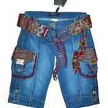 Шикарные джинсовые бриджи SASSOFONO р. 42