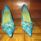 бирюзовые кожаные туфли р 37