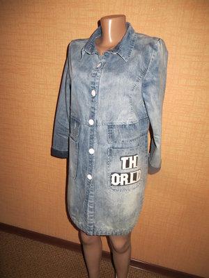 Оригинальный джинсовый плащ пиджак, френч ,кардиган.