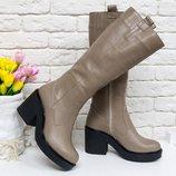 Кожаные стильные сапоги на каблуке осень-зима 16072 ,р-ры 36-41,любой цвет