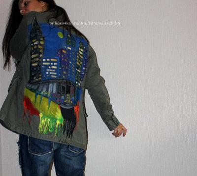 by KOKO4KA ручная роспись парка куртка с принтом