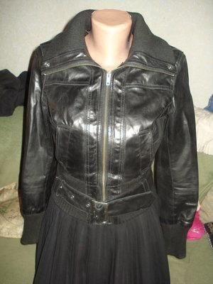 Куртка кожаная черная с трикотажем New Look