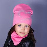 Детская хлопковая двойная шапка для девочки