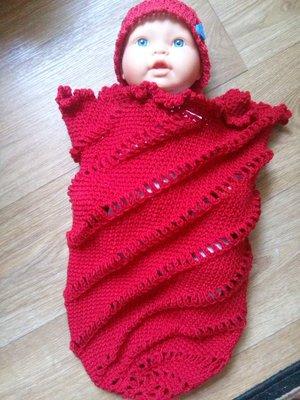 Конверт-Кокон и шапочка для новорожденного