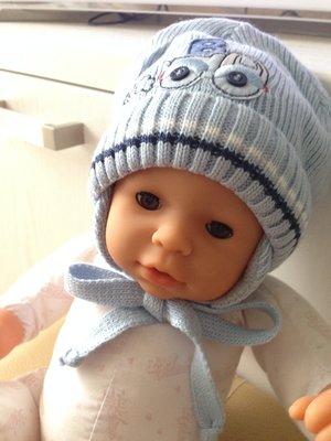 теплая зимняя шапка шапочка на малыша 0-3 мес