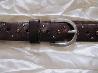 Ремень пояс кожаный с заклепками узкий 100 см