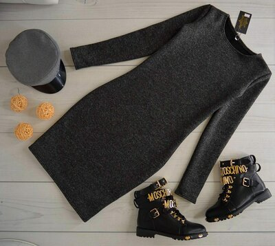 Распродажа Тёплое трикотажное платье на меху Зима 5 цветов с круглым вырезом горловины