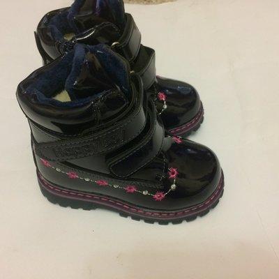 Ботинки лак зимние для девочки синие