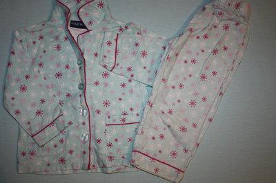 Пижама байковая бирюзовая в снежинки ф.Primark на девочку 2-3-г р-92/98 в хорошем состоянии