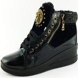 Шик зимние сникерсы ботинки в стиле Versace в наличии 35-41