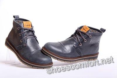 Зимние ботинки Clarks синие из натуральной качественной кожи