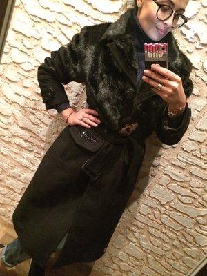 Эффектное зимнее пальто имитация норки-кашемир