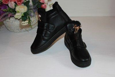 Женские ботинки липучки на меху