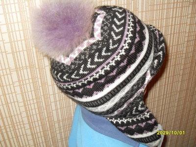 теплая шапка -ушанка бубон натуральный песец